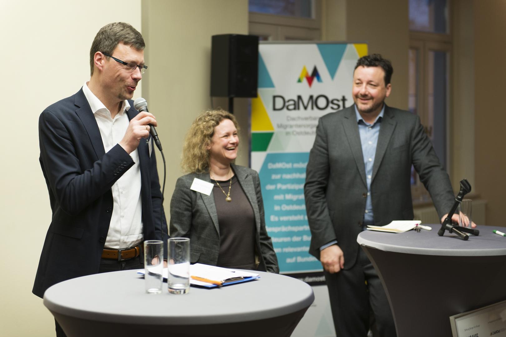 Olaf Ebert, Nina Leseberg und Moderator Alexander Thamm